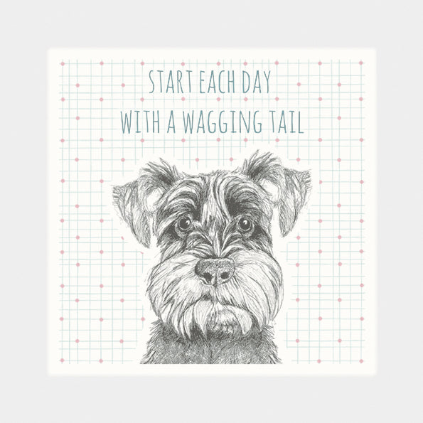 """Start Each Day with a Wagging Tail"" coaster"