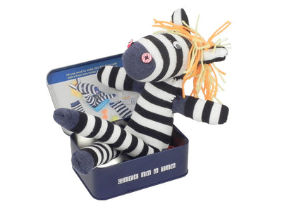 Sock Zebra in a tin