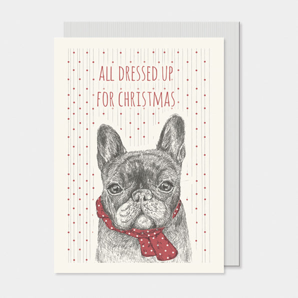 Dressed Up French Bulldog Christmas card