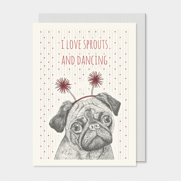 I Love Sprouts, pug card