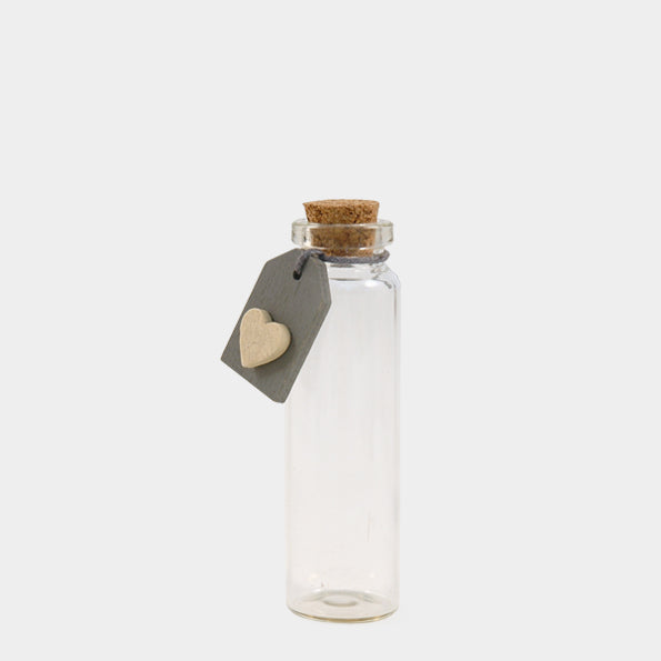 Bottle with grey heart tag