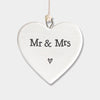 """Mr & Mrs"" porcelain heart"