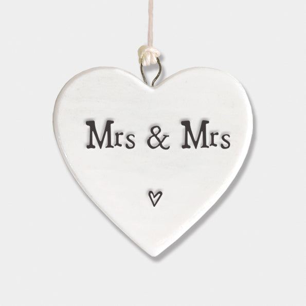 """Mrs & Mrs"" porcelain heart"