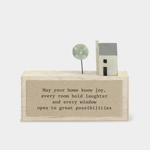 """May Your Home Know Joy"" wooden plaque"