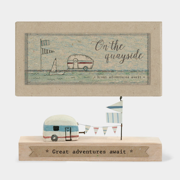 "Quayside wooden scene ""Great Adventures Await"""