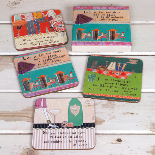 "Set of 4 ""drinks with your friends"" coasters"