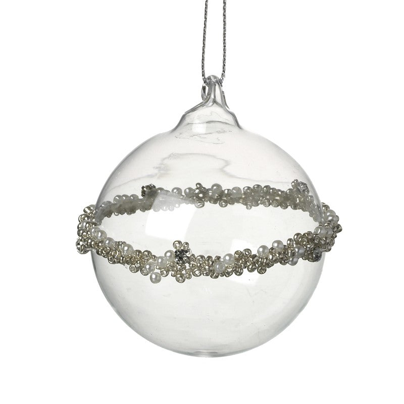 Clear glass bauble embellished with central beads