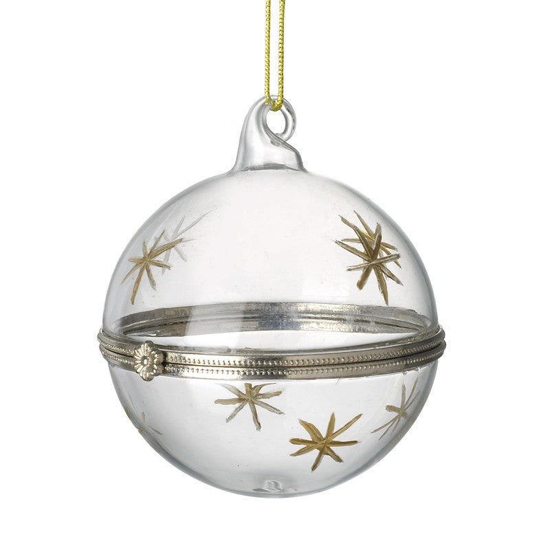 Clear glass bauble with gold stars