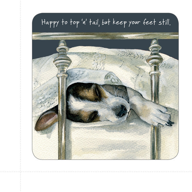 """Happy to top 'n' tail, but keep your feet still"" coaster"
