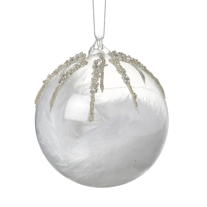 Clear glass bauble with embellishment and feathers