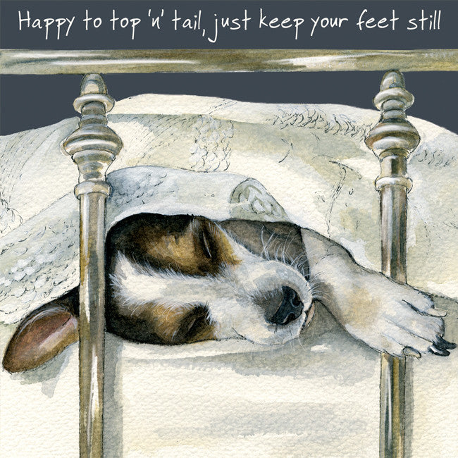 """Happy to top 'n tail, just keep your feet still"" greeting card"