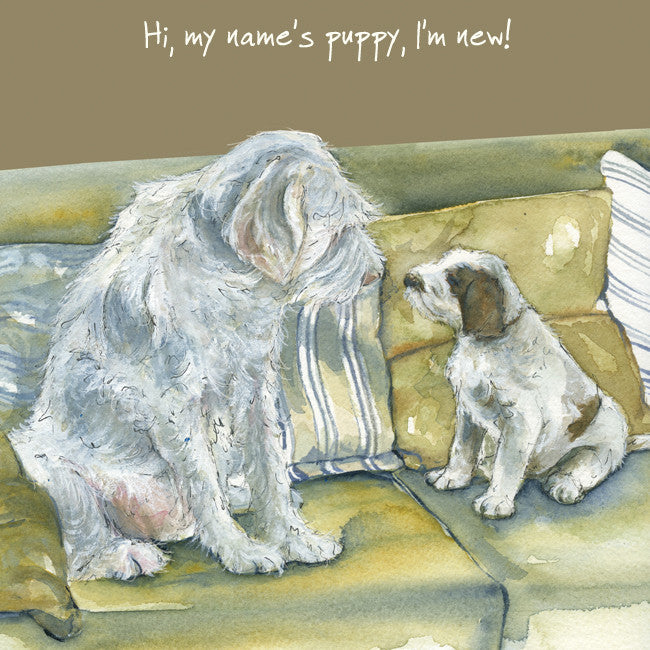"""Hi, my name's Puppy, I'm new!"" greeting card"