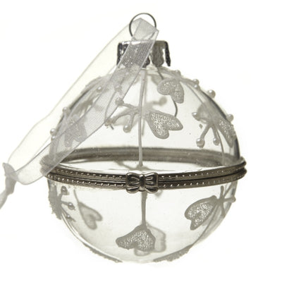Clear glass bauble with embroidery and pearl embellishment