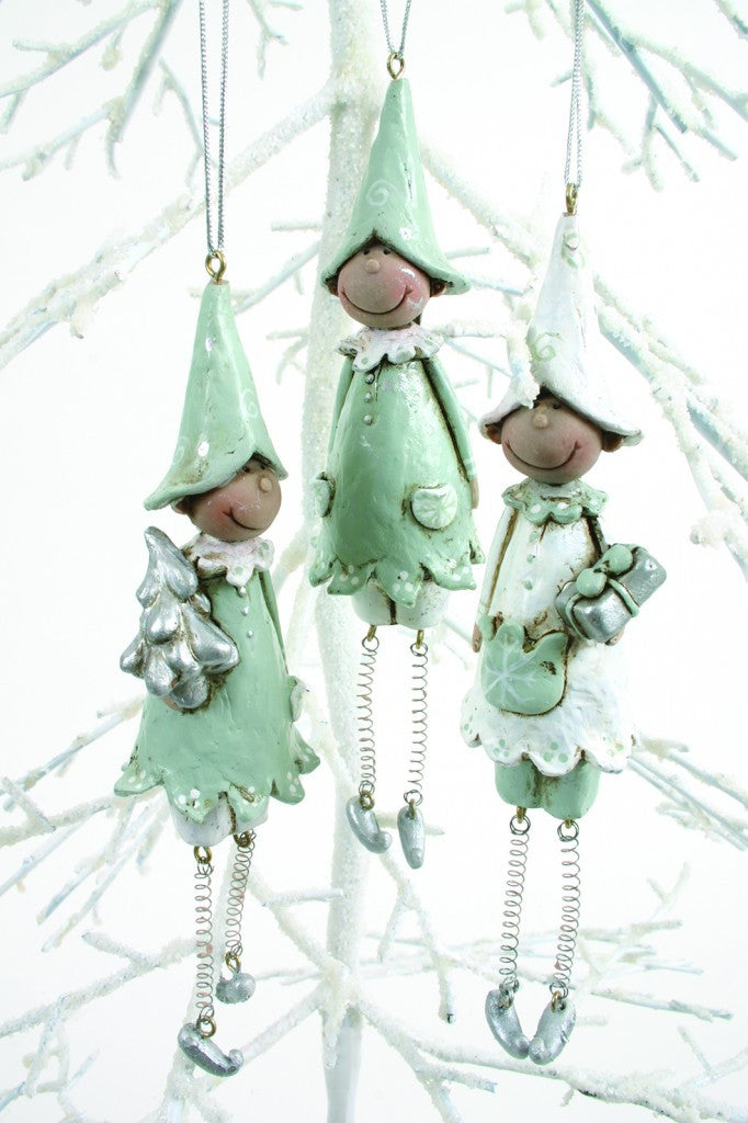 Silver and Blue Hanging Elves