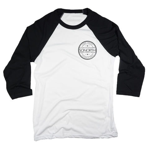 SONORTH Adult 3/4 Baseball Tee - Black/White