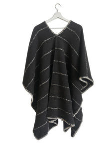 Crudo Poncho - Black cotton/wool