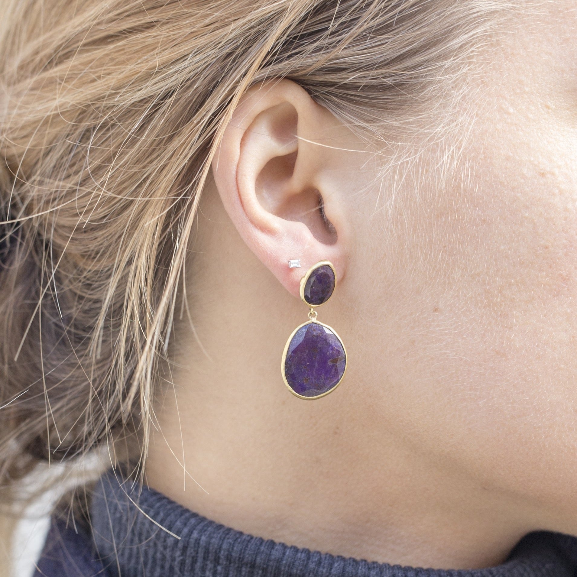 Amethyst Medium Double Earrings