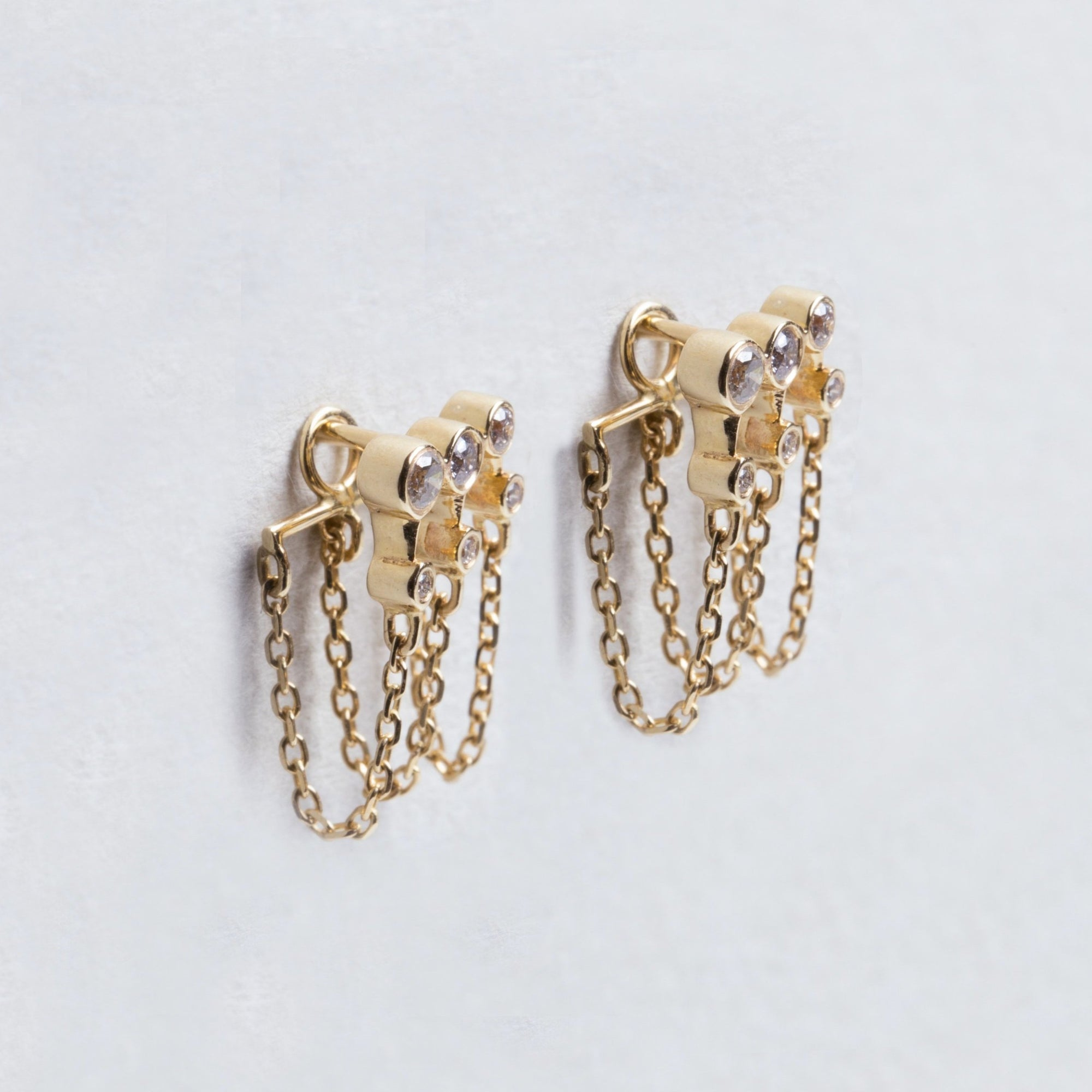 Triple Chain Gold Earrings with Diamonds