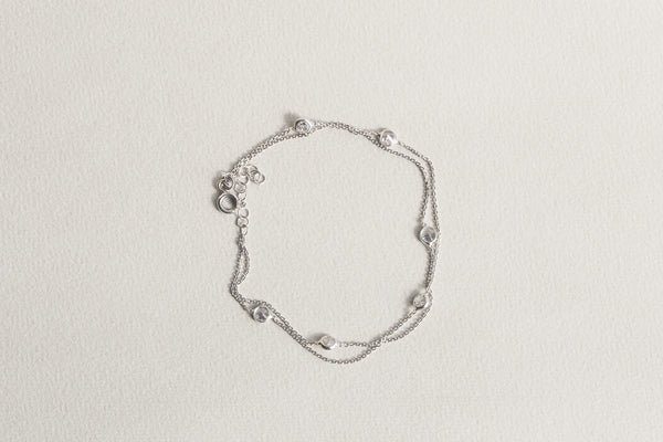 same brand but slightly different look double chain station bracelet also available on feltlondon.com