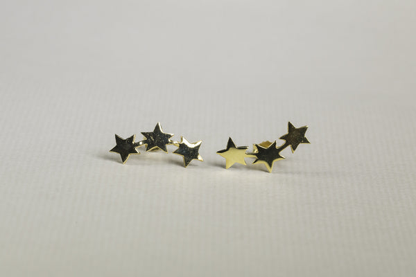 fun three star earrings in gold plated silver