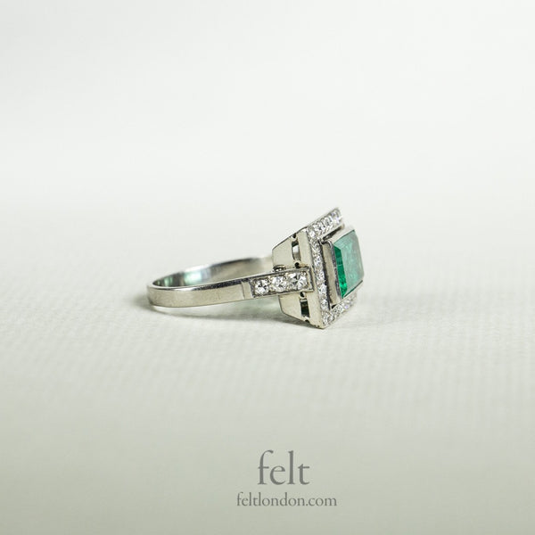 Platinum, Diamond and Emerald Rectangular Antique Ring.
