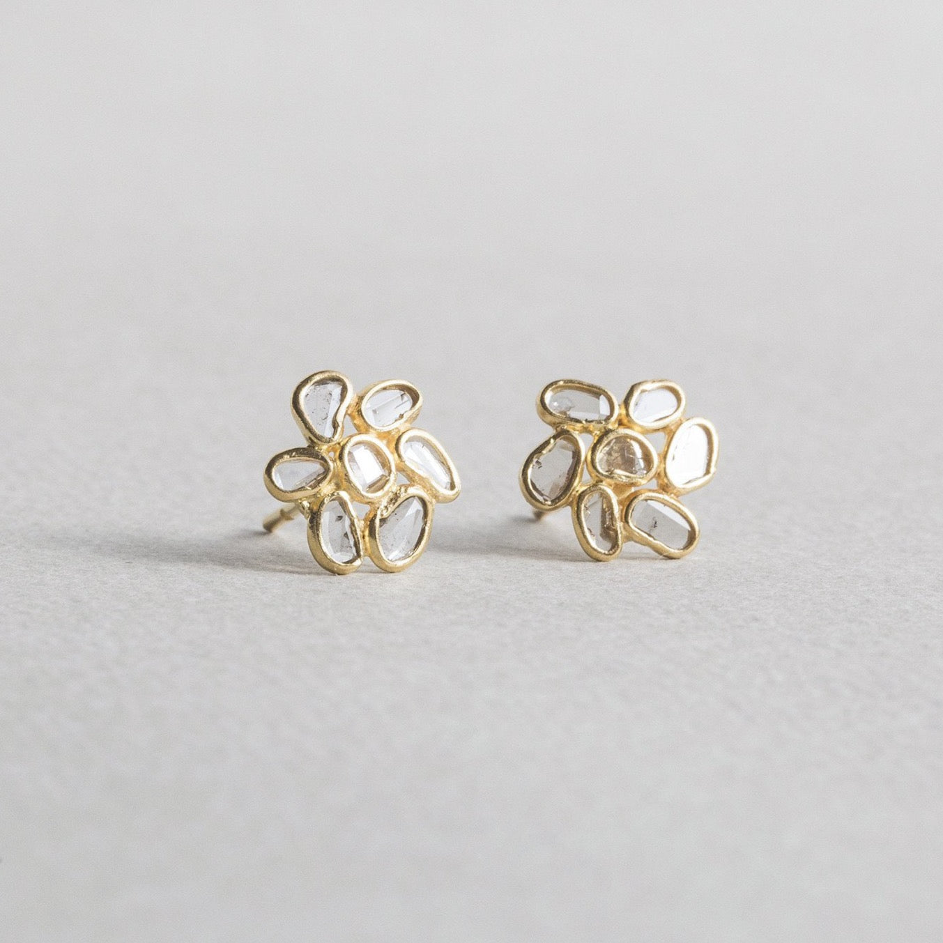 Diamond Slice Flower Stud Earrings