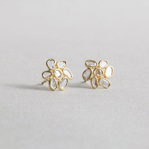 felt 18 carat golr bezel set diamond slice flower stud earrings