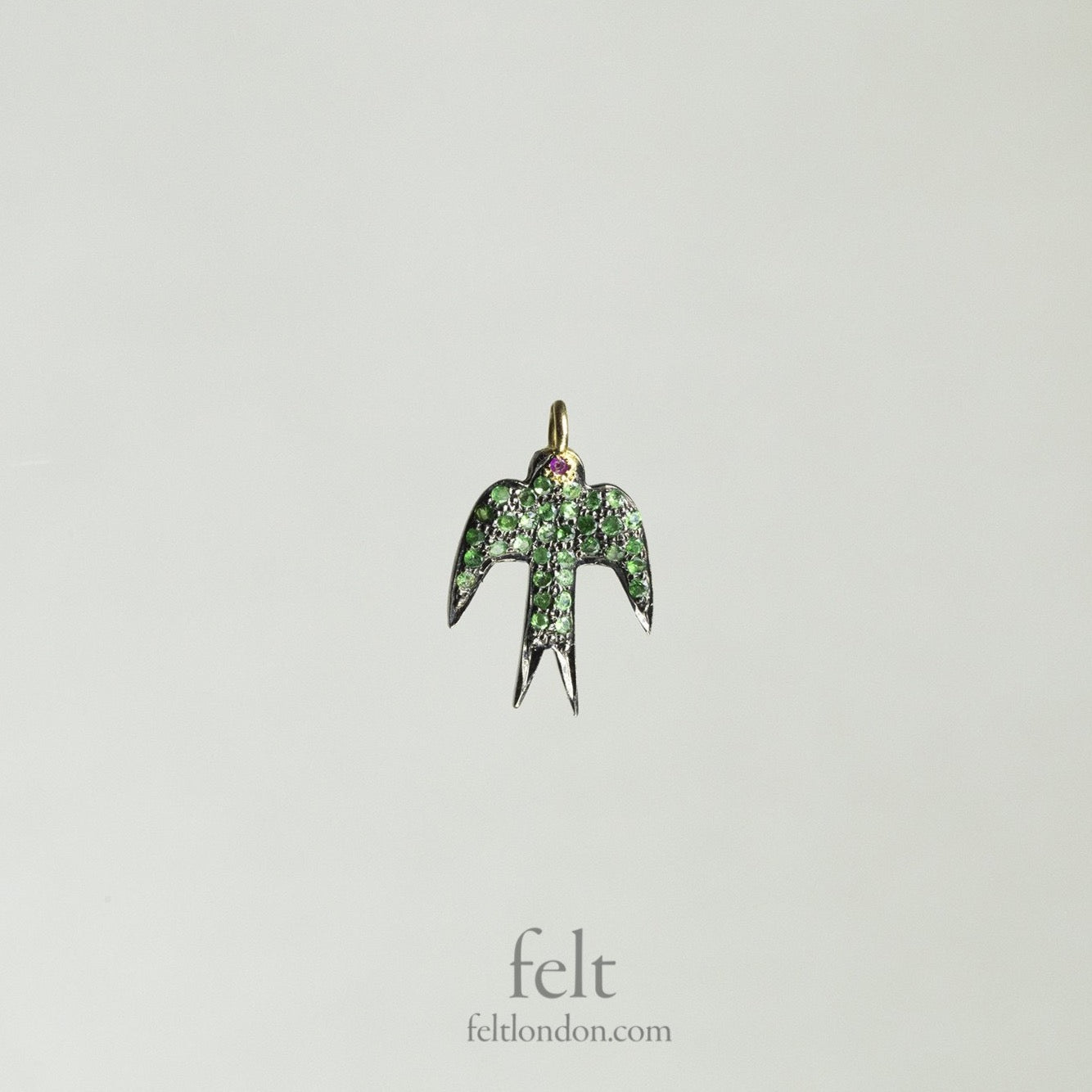 Green Garnet Swallow Pendant