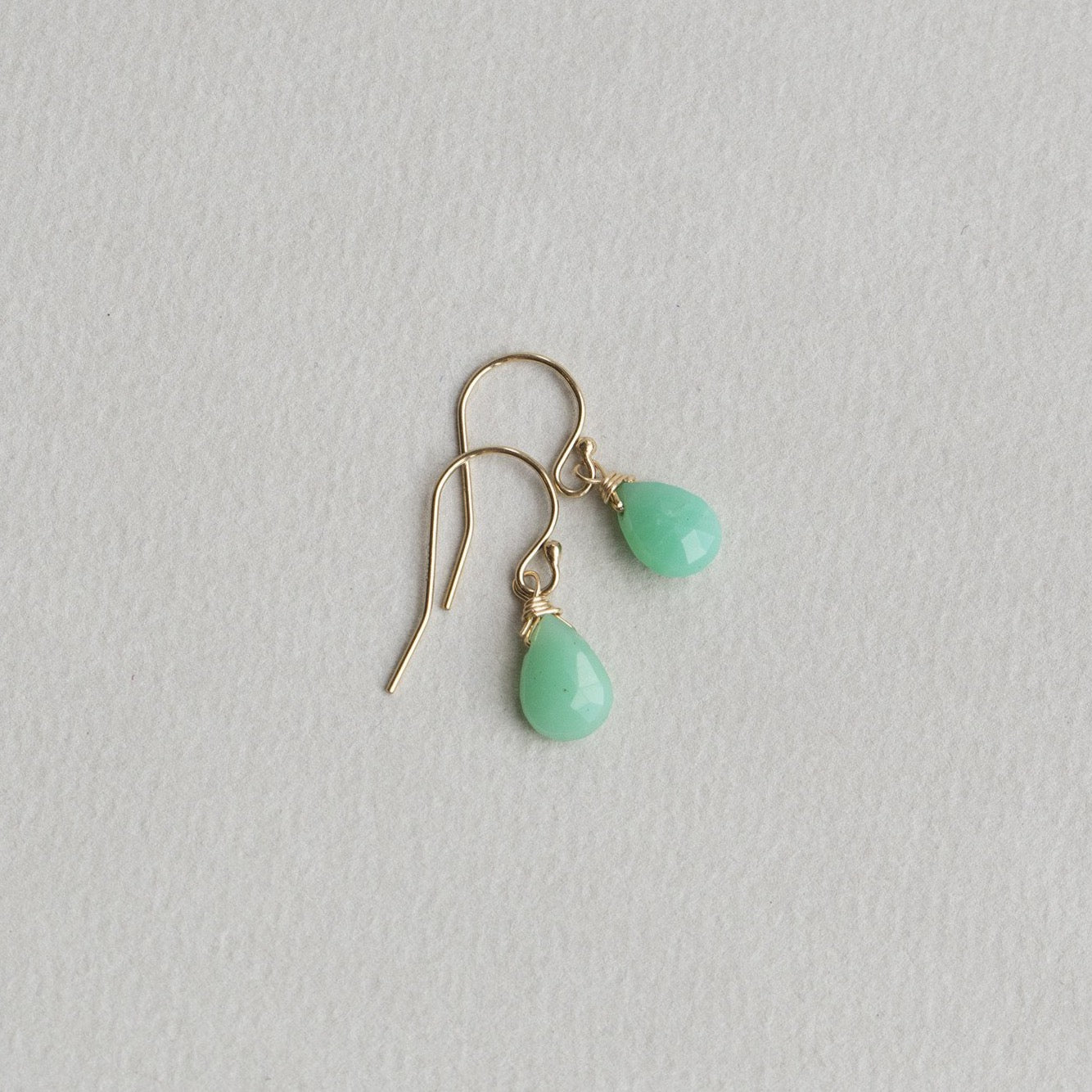 Chrysoprase Briolette Drop Earrings on Gold Filled Hooks by Brandts Jewellery