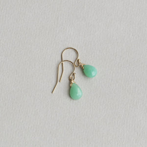 chrysoprase briolette drop earrings with gold filled hooks