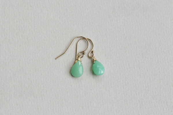 chrysoprase briolette drop earrings also available on feltlondon.com