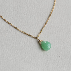 chrysoprase drop necklace on a gold filled 40cm chain