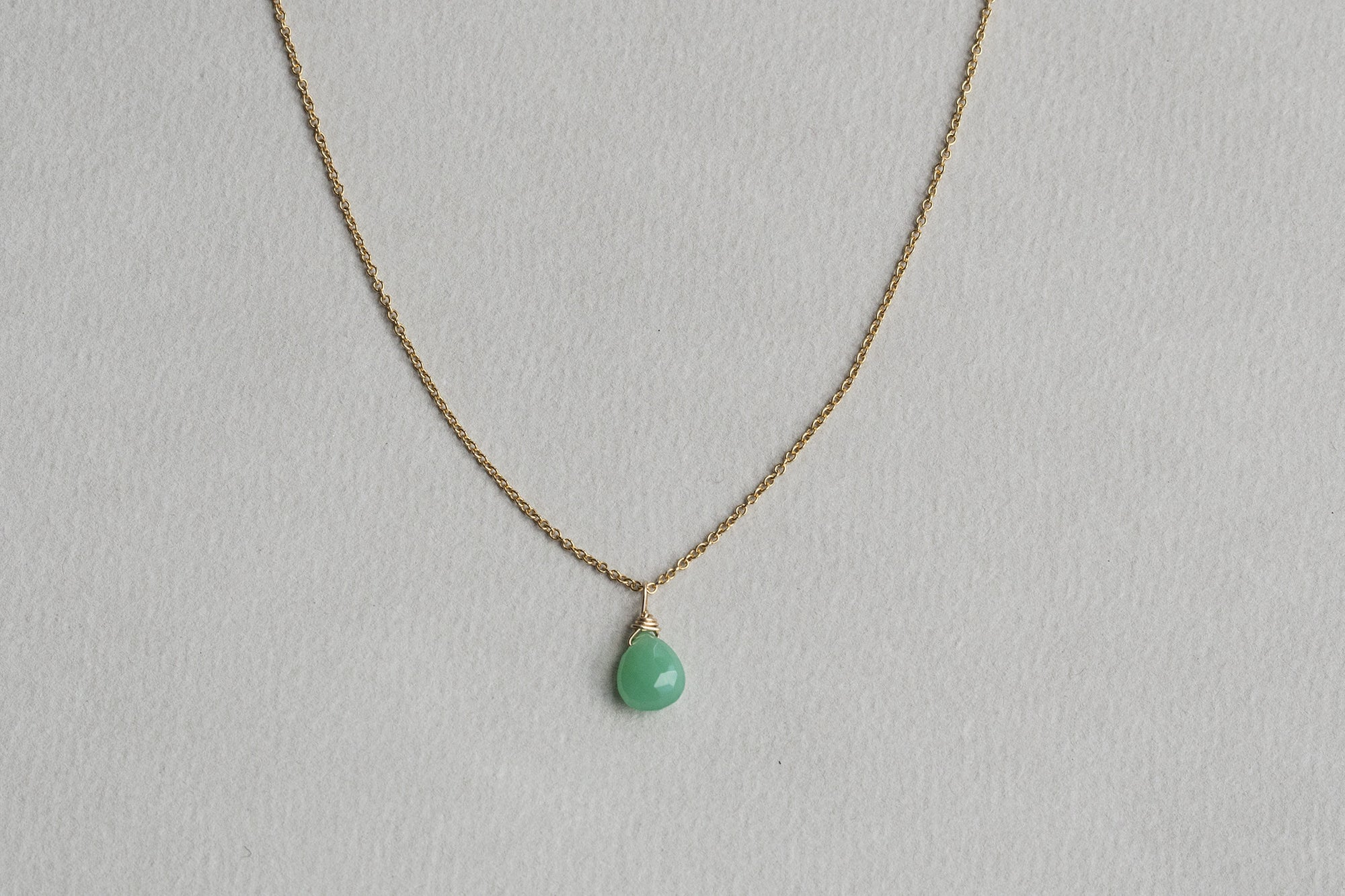 Ayshe Brandts Jewellery chrysoprase briolette necklace on gold filled chain