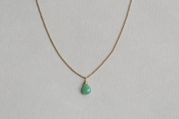 chrysoprase briolette pendant on gold filled chain