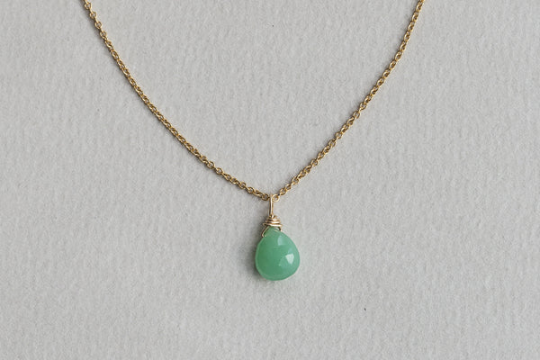 chrysoprase drop necklace from up close
