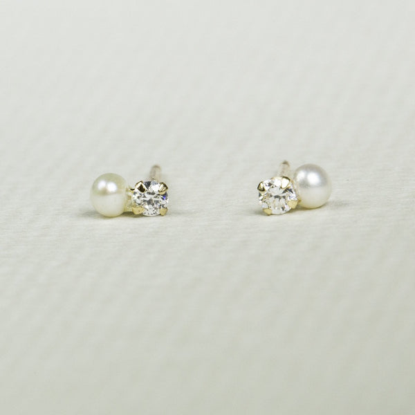 Tiny Pearl and Crystal Stud Earrings