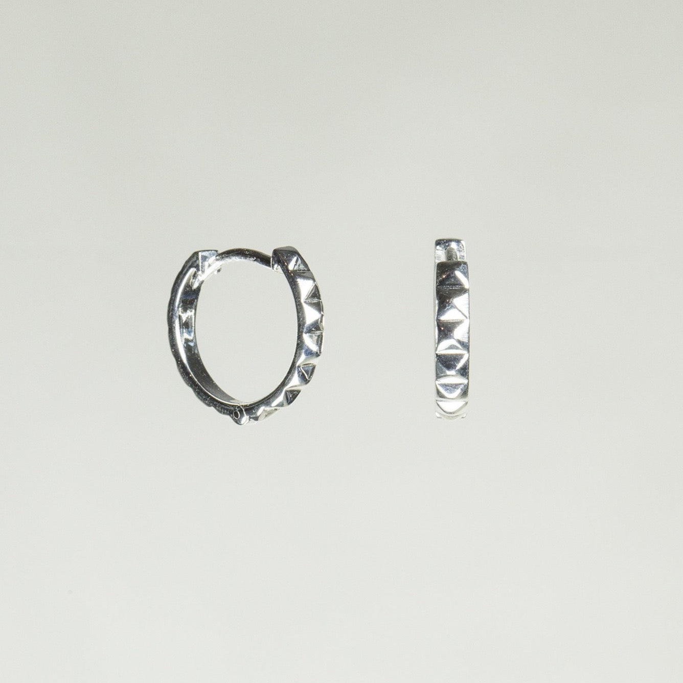 Silver Studed Hoops