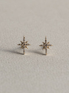 Celine Daoust Starburst 14 Carat Gold Stud Earrings