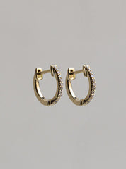felt little gold and diamond hoops made of 18 carat yellow and white gold