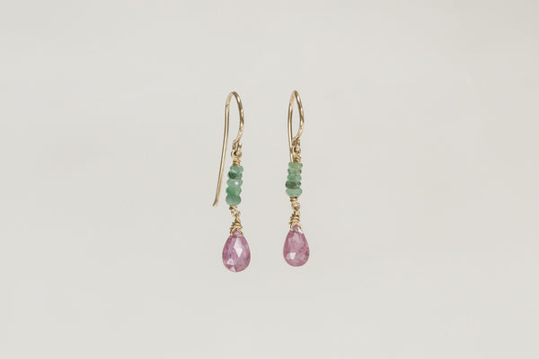 these emerald and pink sapphire drop earrings are handmade by Claire herself and available at feltlondon.com