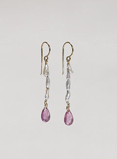 Claire van Holthe pink sapphire briolette and keshi pearls 9 carat gold drop earrings
