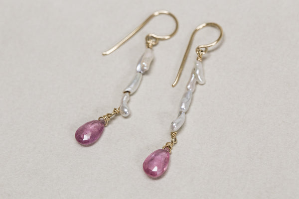 the delicate but mighty drop earrings seen from up close