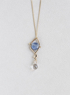 Claire van Holthe for felt Kyanite and rock crystal necklace on 9 carat gold