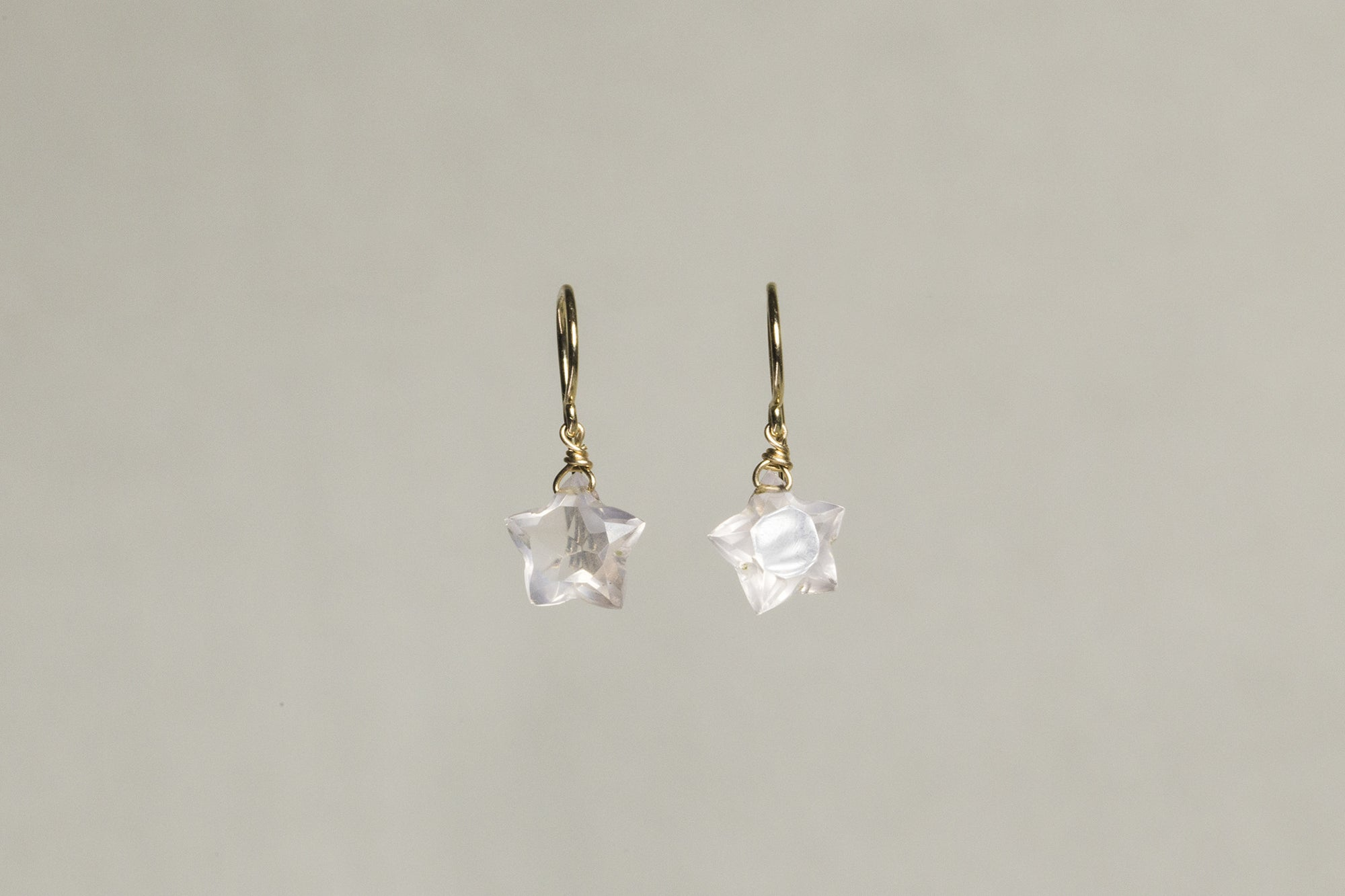 Claire van Holthe Star Shaped Rose Quartz Drop Earrings