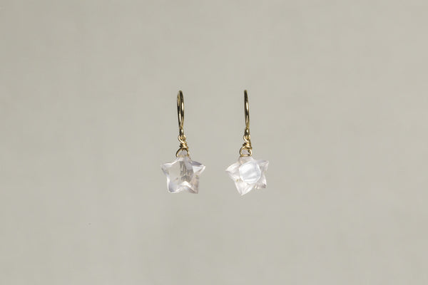 sparkly interestingly shaped rose quartz on 9 carat gold wire hooks