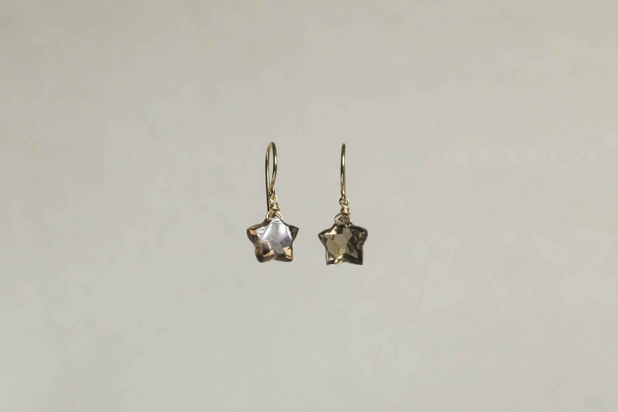 super star drop earrings made from star faceted quartz - dark version also available online