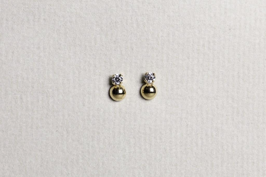 Crystal Over Gold Ball Stud Earrings