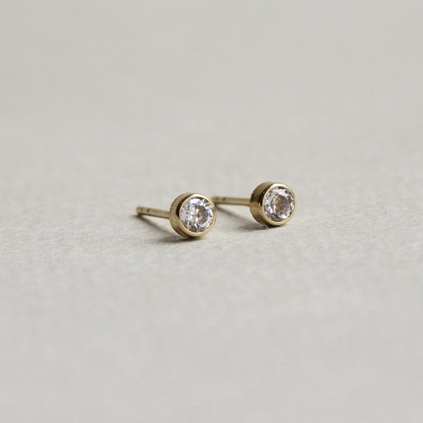 side view of our simple stud earrings - they come with matching butterflies