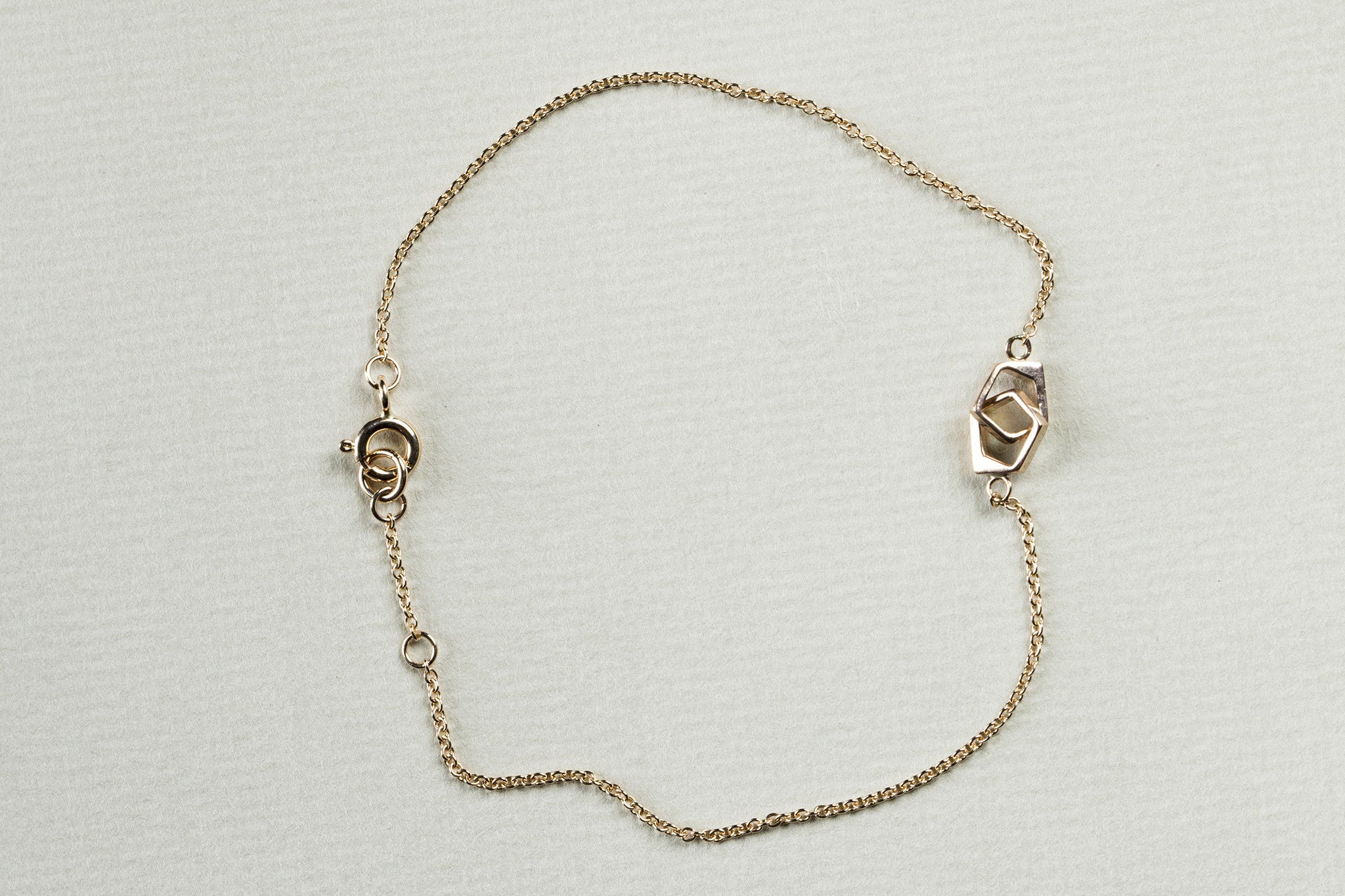 Entwined Wonky Links Bracelet in Rose Gold