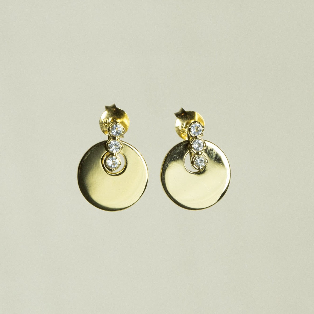 Davina Combe Disc with Stones Drop Earrings